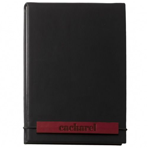 Набор Cacharel из дизайнерского черного блокнота и шариковой ручки с черно-бордовой отделкой китайским лаком, фото