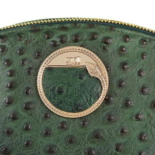 Косметичка Cavalli Class Cameo кожаная темно-зеленая мягкая со страусиной фактурой, фото