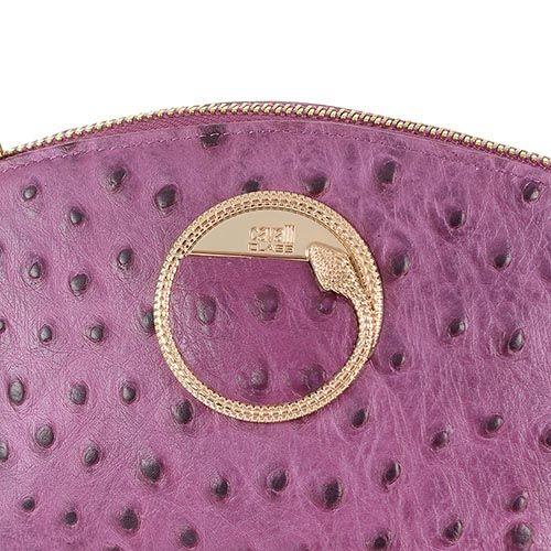 Косметичка Cavalli Class Cameo кожаная розово-сиреневая мягкая со страусиной фактурой, фото