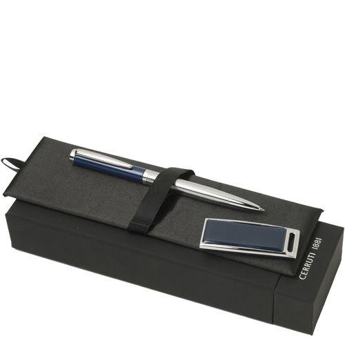 Набор Cerruti 1881 из шариковой ручки Drill Blue и флеш-карты Zoom Blue USB2 на 2 Гб, фото