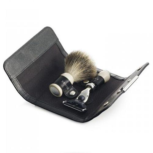 Набор для бритья Dalvey - бритва и помазок Best в кожаном чехле , фото