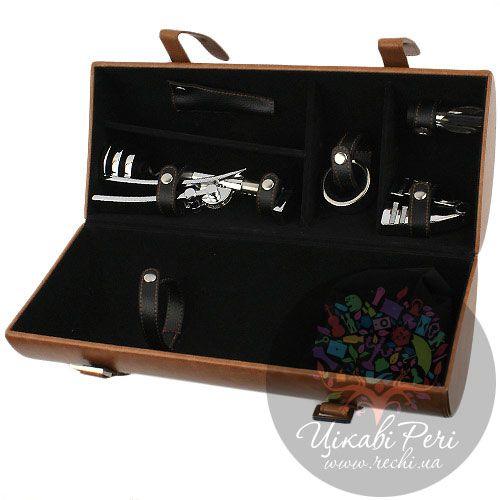 Винный набор Tong коричневого цвета с хромированным цинковым штопором и отделением для бутылки вина, фото