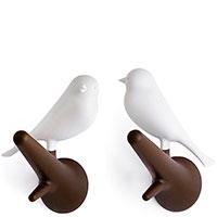 Набор крючков настенных Qualy Hook Sparrow белый с коричневым, фото