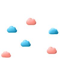 Набор магнитов Qualy Note On tne Cloud голубого и розового цвета, фото