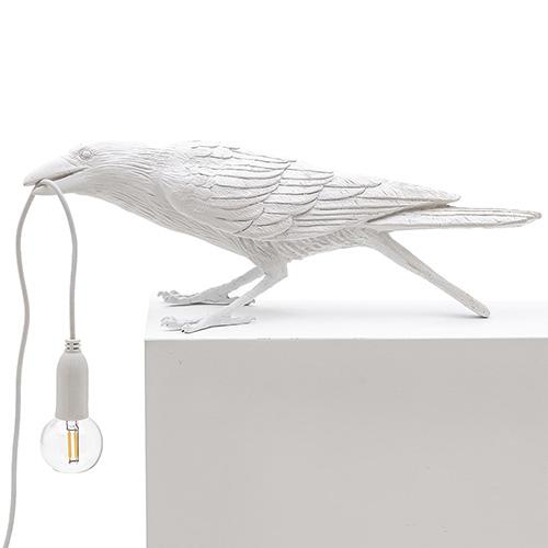 Настольный светильник Ворона белый Seletti Bird Lamp Playing, фото