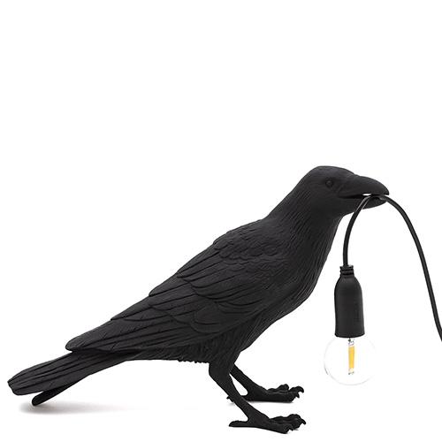 Светильник-ворона черная Seletti Bird Lamp Waiting, фото