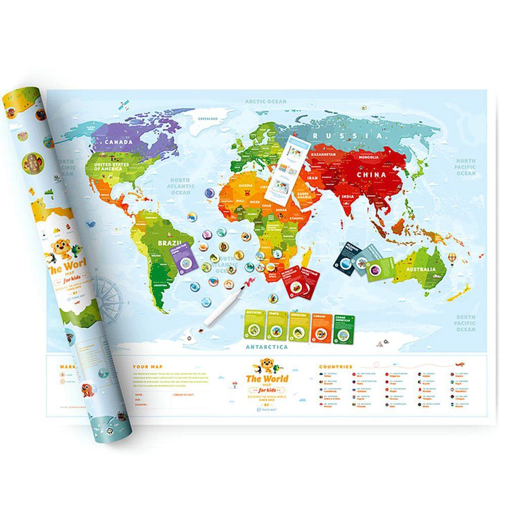 Скретч-карта для детей Travelmap Kids Animals