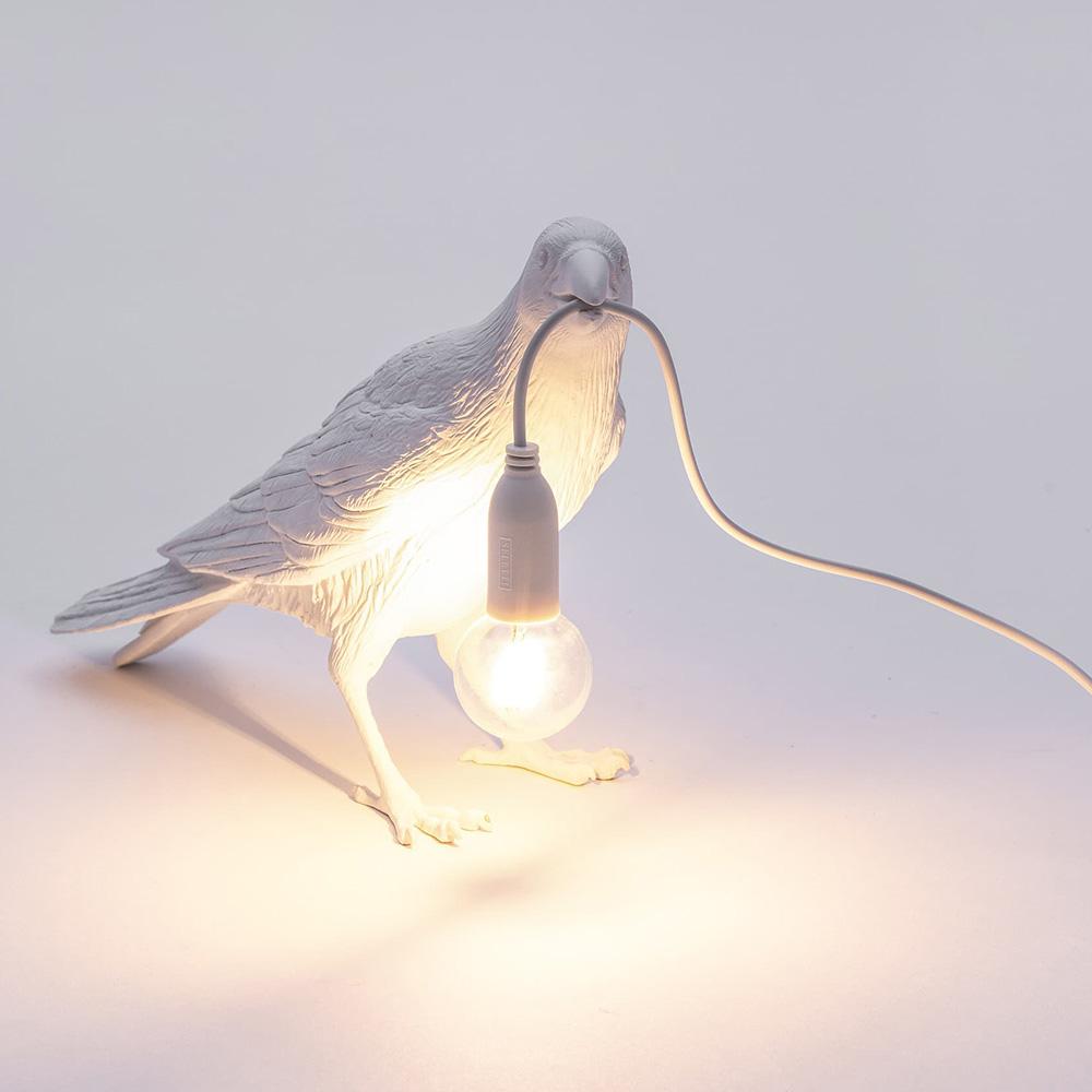 Белый светильник Ворона Seletti Bird Lamp Waiting
