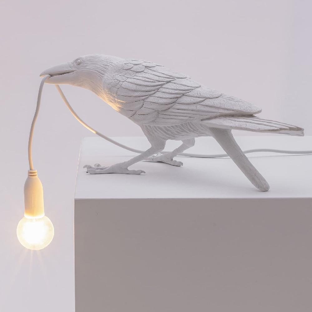 Настольный светильник Ворона белый Seletti Bird Lamp Playing