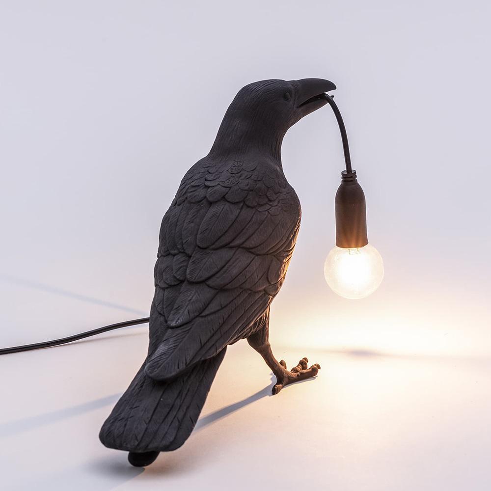 Светильник-ворона черная Seletti Bird Lamp Waiting