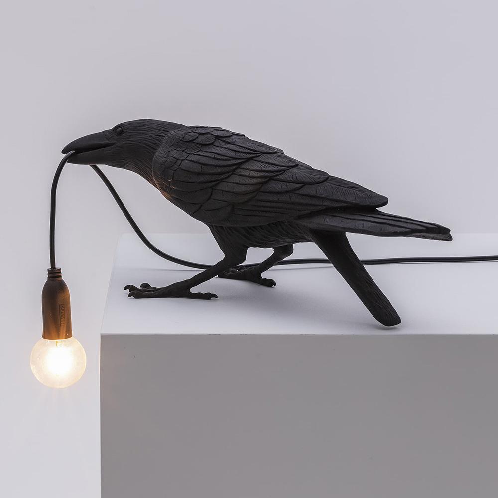 Светильник-ворона черный Seletti Bird Lamp Playing