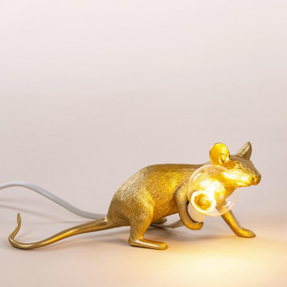 Светильник-мышь Seletti Mouse Lamp Gold Liyng down