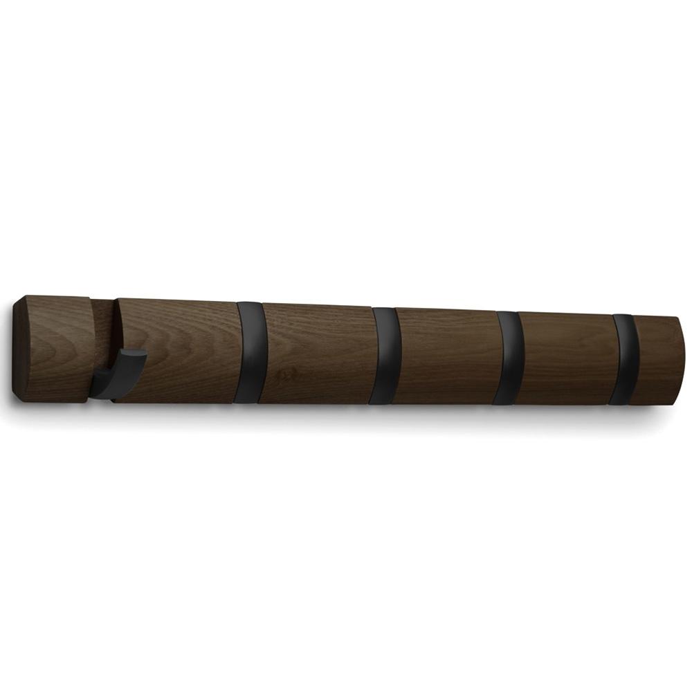 Вешалка на пять крючков Umbra Flip в коричневом цвете