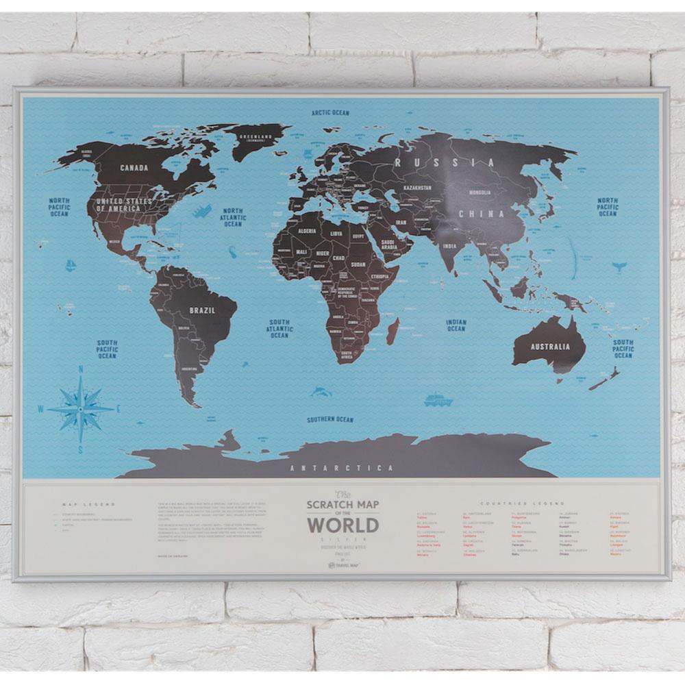 Карта мира Travelmap из пластика со скретч-покрытием для открывателей