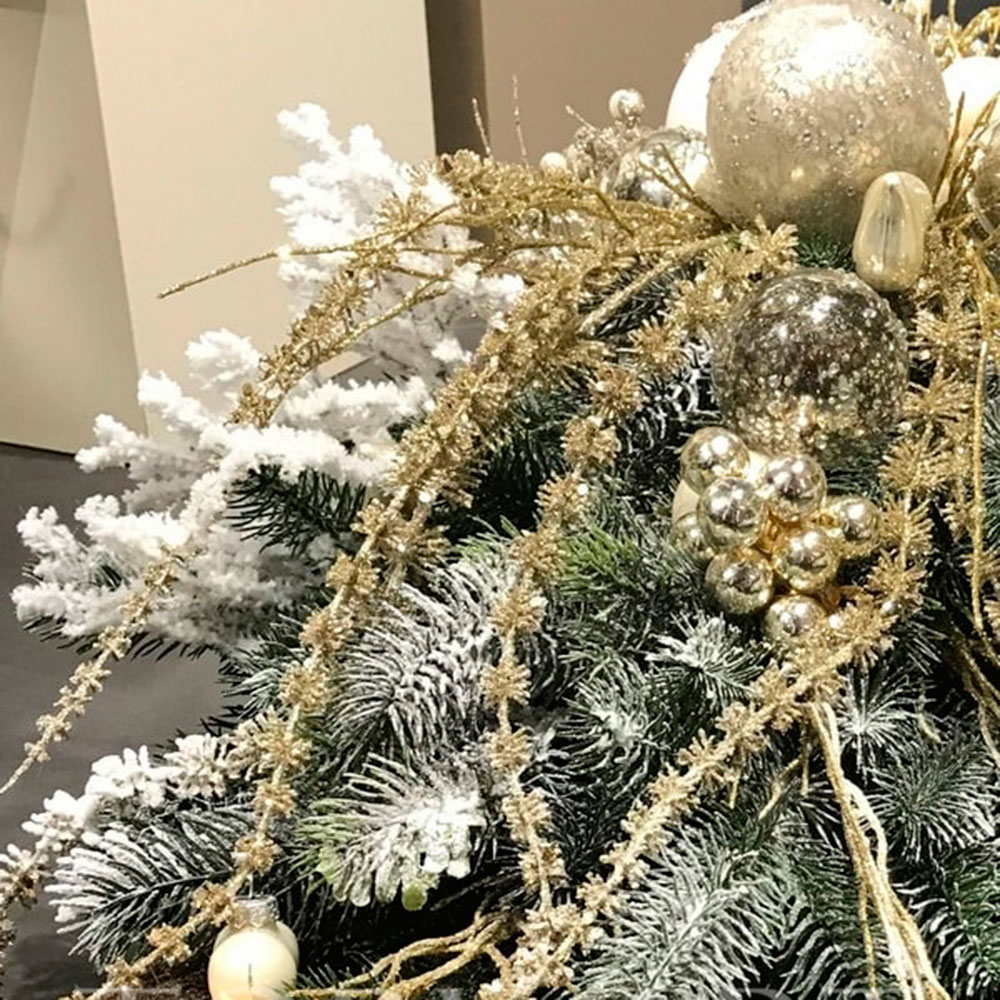 Ваза-ладья Роскошь с новогодней композицией