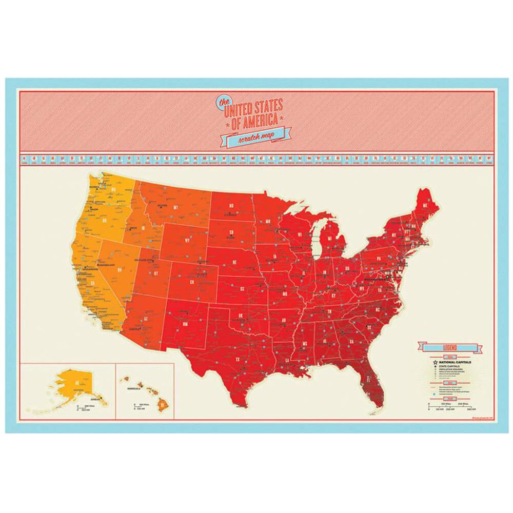 Скретч карта Америки Luckies для путешественника