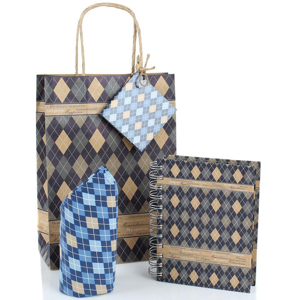 Мужской подарочный набор Образ жизни Mens style с блокнотом и карманным платком
