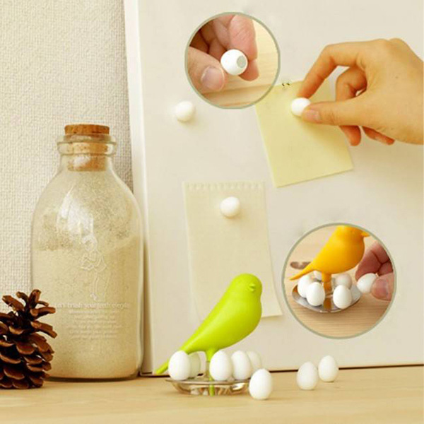 Набор магнитов на холодильник Qualy Magnetic Egg Sparrow