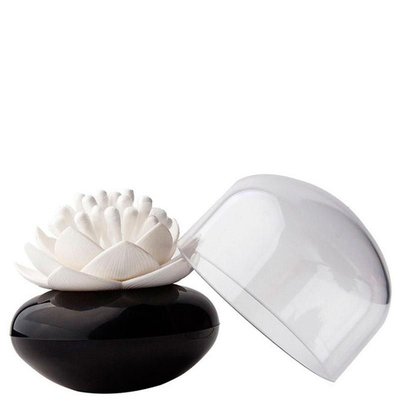 Подставка для ватных палочек Qualy Lotus Cotton Bud черная с белым
