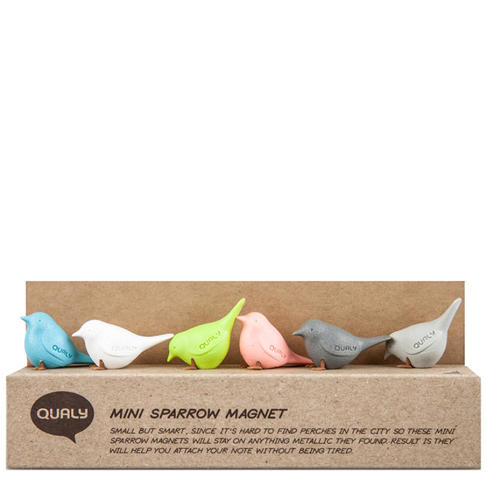 Магниты Qualy Mini Sparrow в виде воробьев разных цветов