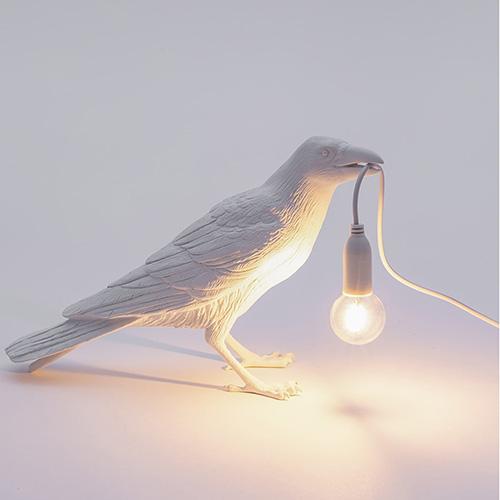 Белый светильник Ворона Seletti Bird Lamp Waiting, фото