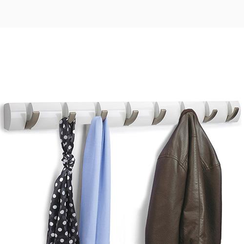 Вешалка белого цвета Umbra Flip с откидными крючками, фото