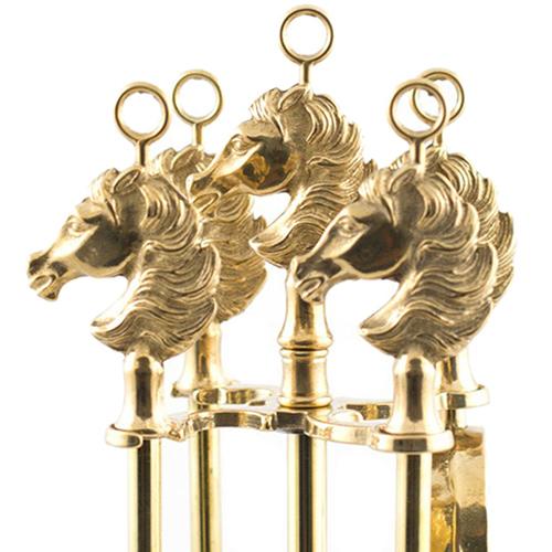 Набор для камина Alberti Livio с ручками в форме лошадей, фото
