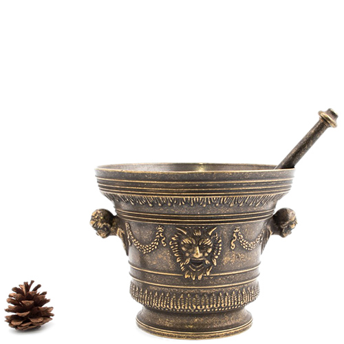 Ступка с пестиком Alberti Livio из патинированной латуни, фото