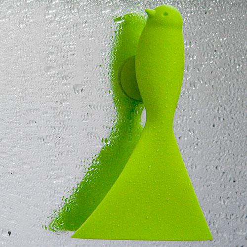 Скребок для стекол и зеркал Qualy Sparrow зеленого цвета, фото