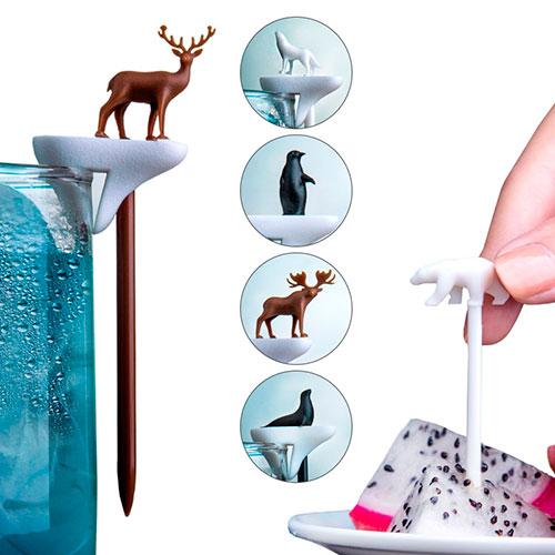 Набор шпажек-маркеров для бокалов Qualy Cool Party Animal, фото