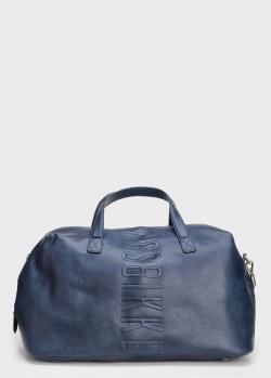 Дорожная сумка Bikkembergs с синего цвета с тиснением, фото