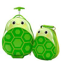 Чемодан и рюкзак Heys Travel Tots Turtle зеленого цвета, фото