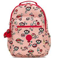 Большой рюкзак Kipling BTS Seoul Go розовый с принтом, фото