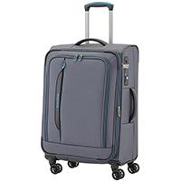 Чемодан серого цвета 67x43x26-30см Travelite Crosslite среднего размера для путешествий, фото