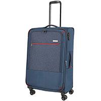 Большой чемодан 47x77x30-34см Travelite Arona синего цвета, фото