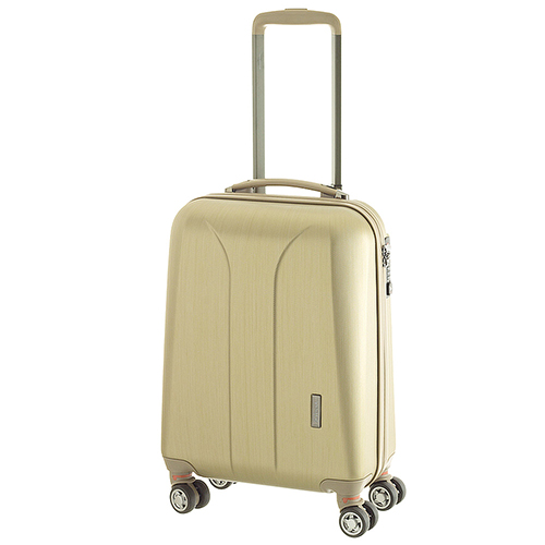 Маленький чемодан 55х35х20см March New Carat с корпусом золотого цвета из поликарбоната с пластиком ABS, фото
