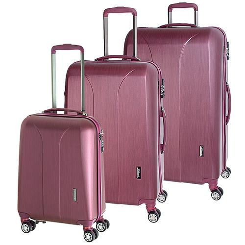 Набор чемоданов цвета бургунди March New Carat с матовым покрытием, фото