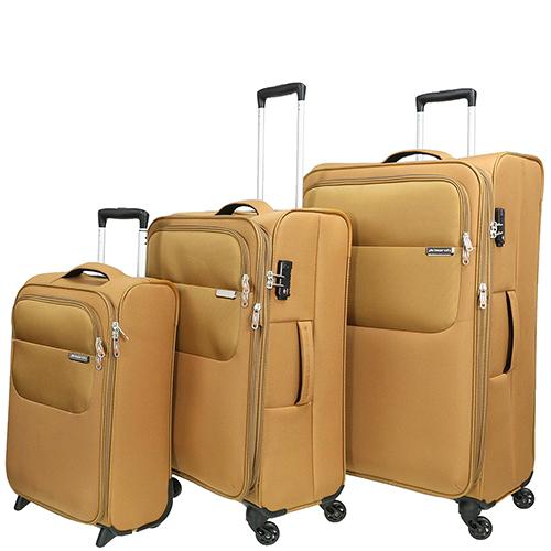 Набор чемоданов March Carter SE золотого цвета на молнии, фото