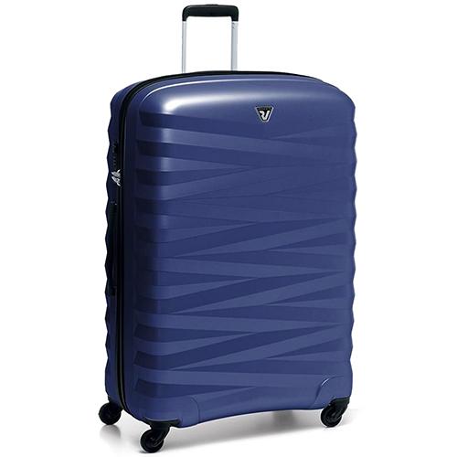 Вместительный чемодан 80x54x30см Roncato Zeta с рельефным корпусом синего цвета, фото