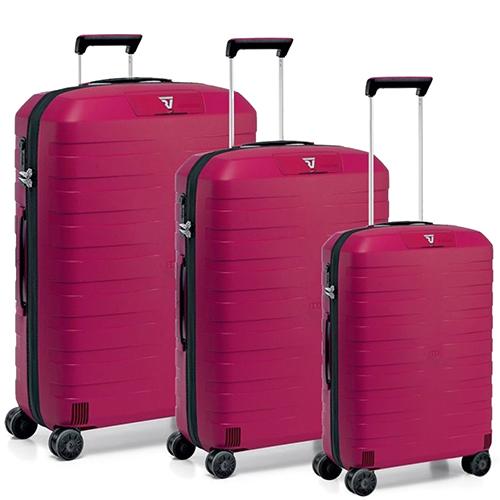 Набор чемоданов Roncato Box розового цвета с 4х колесной системой, фото