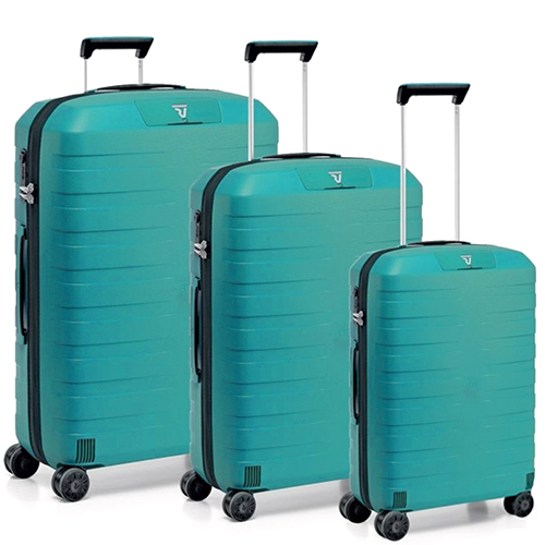 Набор чемоданов бирюзового цвета Roncato Box с замком блокировки TSA, фото