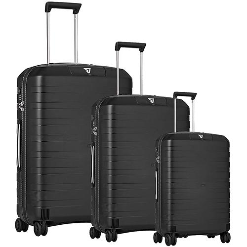 Чемоданы для путешествий Roncato Box черного цвета с белыми вставками на молнии, фото
