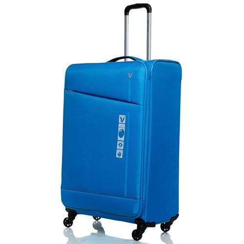 Голубой чемодан 76х48х30см Roncato Jazz с замком блокировки TSA, фото