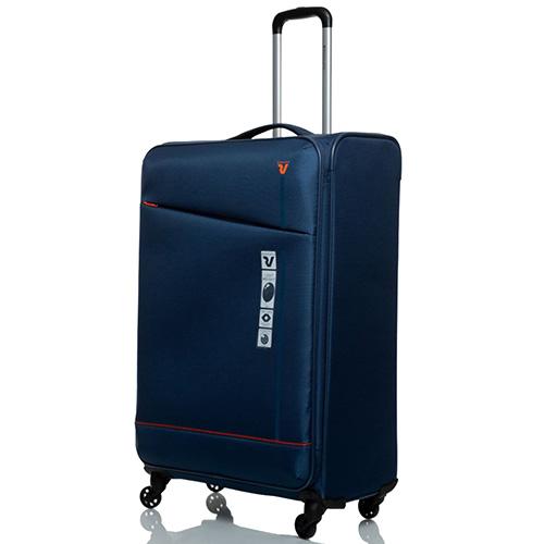 Дорожный темно-синий чемодан 76х48х30см Roncato Jazz на 4-х колесах, фото