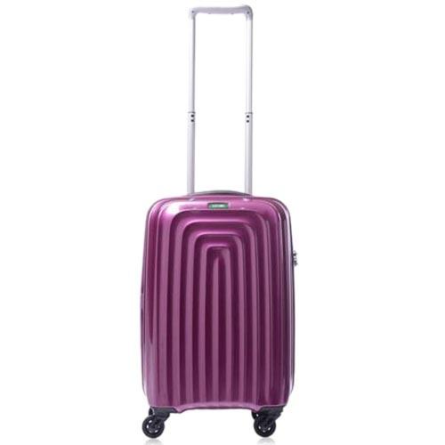 Небольшой фиолетовый чемодан 35х55х22,5см Lojel Wave на двойной молнии и колесиках, фото