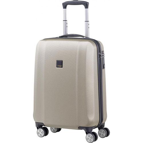 Бежевый чемодан 55x38х20см Titan Xenon с ударопрочным корпусом, фото