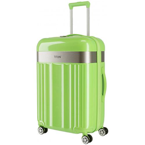 Дорожный чемодан 45x67x27см Titan Spotlight Flash Flashy Kiwi с тележкой, фото