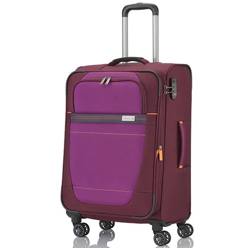 Красный текстильный чемодан 66x42x26-30см Travelite Meteor с малиновым декором, фото