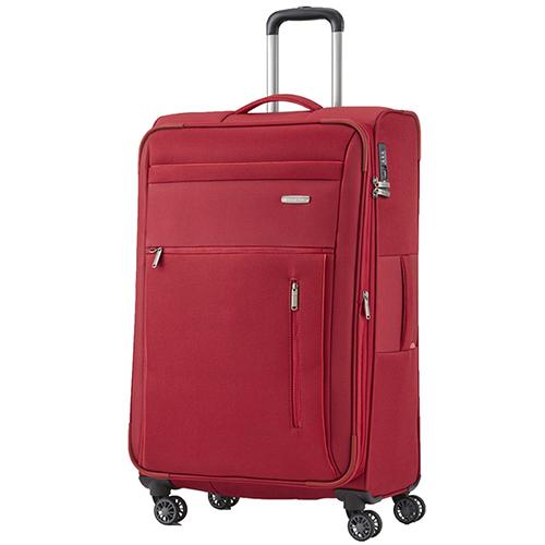 Текстильный красный чемодан 76x46х30-34см Travelite Capri среднего размера, фото