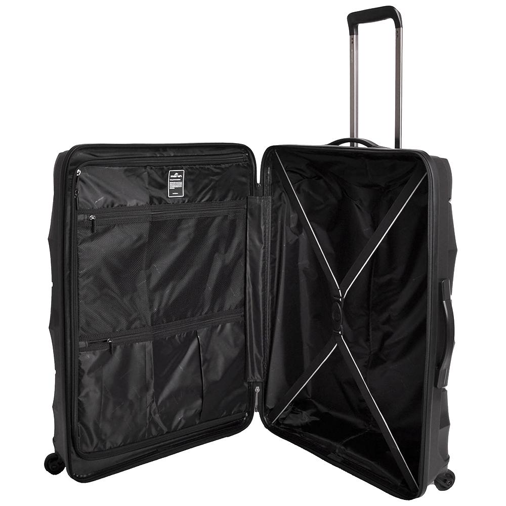 Черный среднего размера чемодан 66x47x26см March Vienna с 4х колесной системой